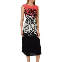 Gabby Skye Womens Mixed Floral Tie Back Midi Dress