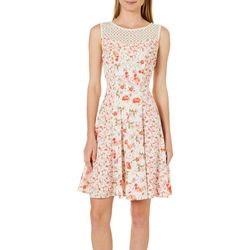 Gabby Skye Womens Floral Lace Yoke Fit & Flare Dress