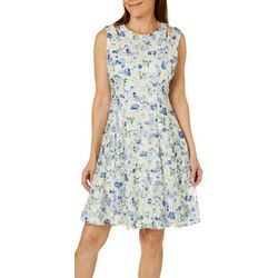 Gabby Skye Womens Floral Lace Cutout Fit & Flare Dress