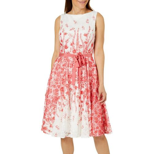 Gabby Skye Womens Belted Floral Lace Fit Flare Dress