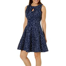 Gabby Skye Womens Dot Print Keyhole Fit & Flare Dress
