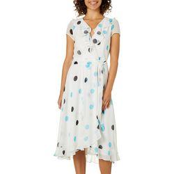 Gabby Skye Womens Belted Polka Dot Ruffle Dress