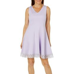 Donna Ricco Womens Solid Crochet Trim Dress