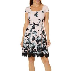 Donna Ricco Womens Painted Floral Lace Trim Dress