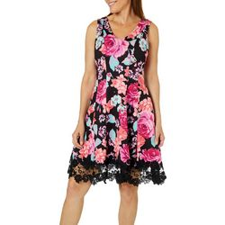 Donna Ricco Womens Floral Print Lace Trim Dress