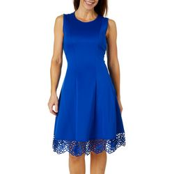 Donna Ricco Womens High Neck Crochet Trim Dress