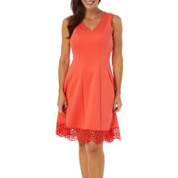 Donna Ricco Womens Solid Crochet Hem Fit & Flare Dress