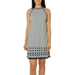 Max Studio Womens Geometric Floral Print Knit Dress