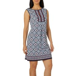 Max Studio Womens Geometric Floral Split Neck Swing Dress