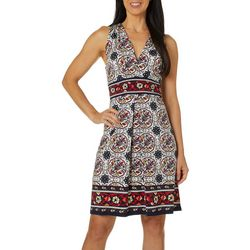 Max Studio Womens Floral Border Print V-Neck Dress