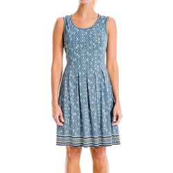Max Studio Womens Geometric Dots Border Print Dress