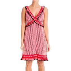 Max Studio Womens Dot Print Ruffled V-Neck Dress