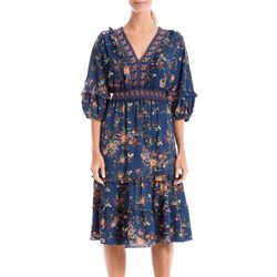 Max Studio Womens Floral Smocked Waist V-Neck Dress