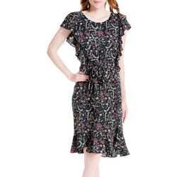 Max Studio Womens Floral Flutter Sleeve Tie Front Dress