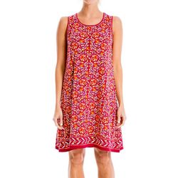 Max Studio Womens Floral Border Print Trapeze Dress