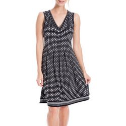 Max Studio Womens Geometric Dots V-Neck Fit & Flare Dress