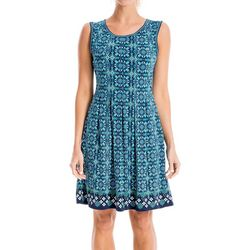 Max Studio Womens Geometric Floral Print Fit & Flare Dress