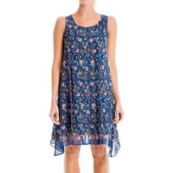 Max Studio Womens Floral Print Chiffon Trapeze Dress