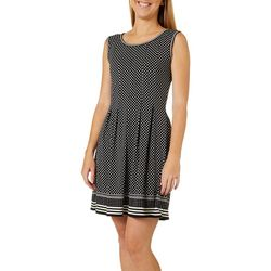 Max Studio Womens Polka Dot Print Fit & Flare Dress