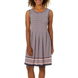 Max Studio Womens Geometric Border Print Dress