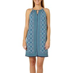 Max Studio Womens Geometric Print Keyhole Shift Dress