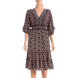 Max Studio Womens Floral Vine Smocked Waist V-Neck Dress