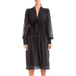 Max Studio Womens Polka Dot Smocked Crepe Tie Front Dress
