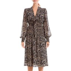 Womens Floral Print Smocked Crepe Tie Front Dress