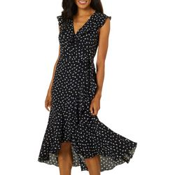 Max Studio Womens Flutter Sleeve Wrap Front Dress