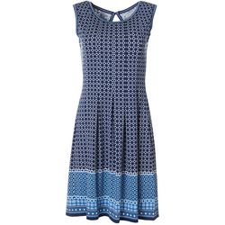Max Studio Womens Sleeveless Geometric Square Print Dress