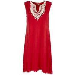 Womens Embroidered Crochet Split Neckline Dress