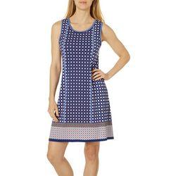 Max Studio Womens Mixed Geometric Border Print Dress