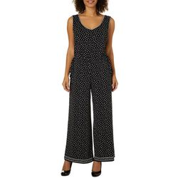 Max Studio Womens Dotted Tie Side Wide Leg Jumpsuit