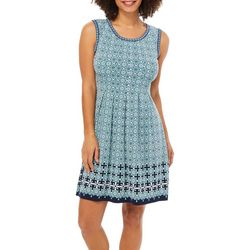 Max Studio Womens Geometric Border Print Sleeveless Dress