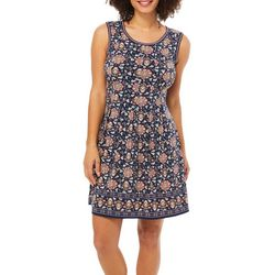 Max Studio Womens Floral Border Print Sleeveless Dress