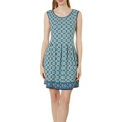 Max Studio Womens Sleeveless Tile Print Dress