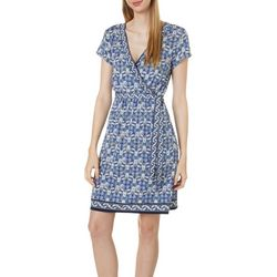 Max Studio Womens Short Sleeve Mixed Scroll Print Dress