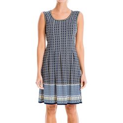 Max Studio Womens Geometric Squares Border Print Dress