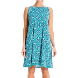 Max Studio Womens Geometric Floral Print Jersey Dress