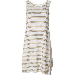 Max Studio Womens Textured Stripe Sleeveless Swing Dress