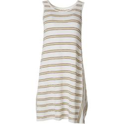 Womens Textured Stripe Sleeveless Swing Dress