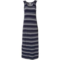 Womens Scoop Neckline Striped Maxi Dress