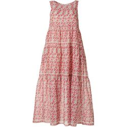 Max Studio Womens Floral Tiered Dress