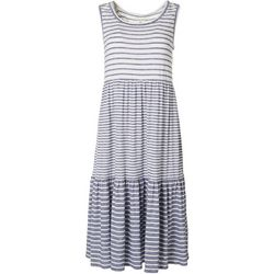 Max Studio Womens Horizontal Stripe 3-Tier Dress