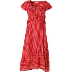 Max Studio Womens Dotted Ruffle Dress