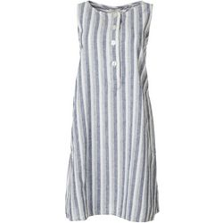 Max Studio Womens Striped Button Sleeveless Dress