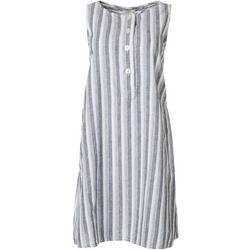 Womens Striped Button Sleeveless Dress