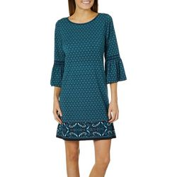 Max Studio Womens Border Print Bell Sleeve Dress