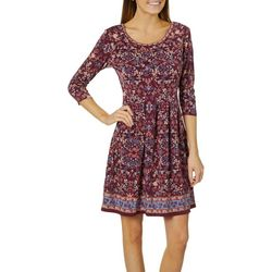 Max Studio Womens Boho Border Print Dress