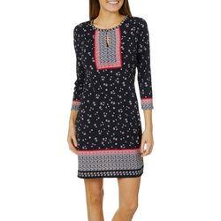 Max Studio Womens Mixed Floral Keyhole Shift Dress